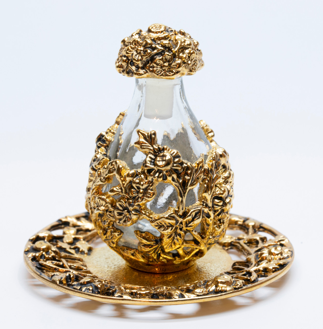Gold with Clear Glass Victorian Tear Bottle - shown on Optional Gold Tray  with Filigree Rim - Sold Separately