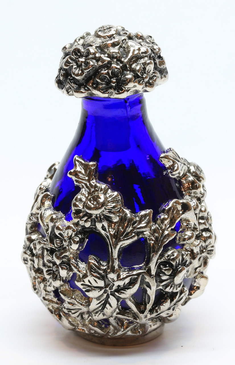 Silver with Blue Glass Victorian Tear Bottle