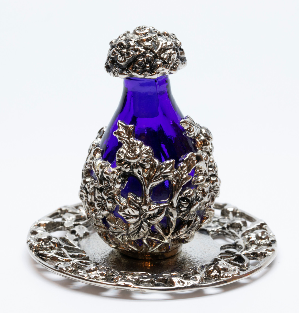 Silver with Blue Glass Victorian Tear Bottle - pictured with Optional Silver Tray - Sold Separately