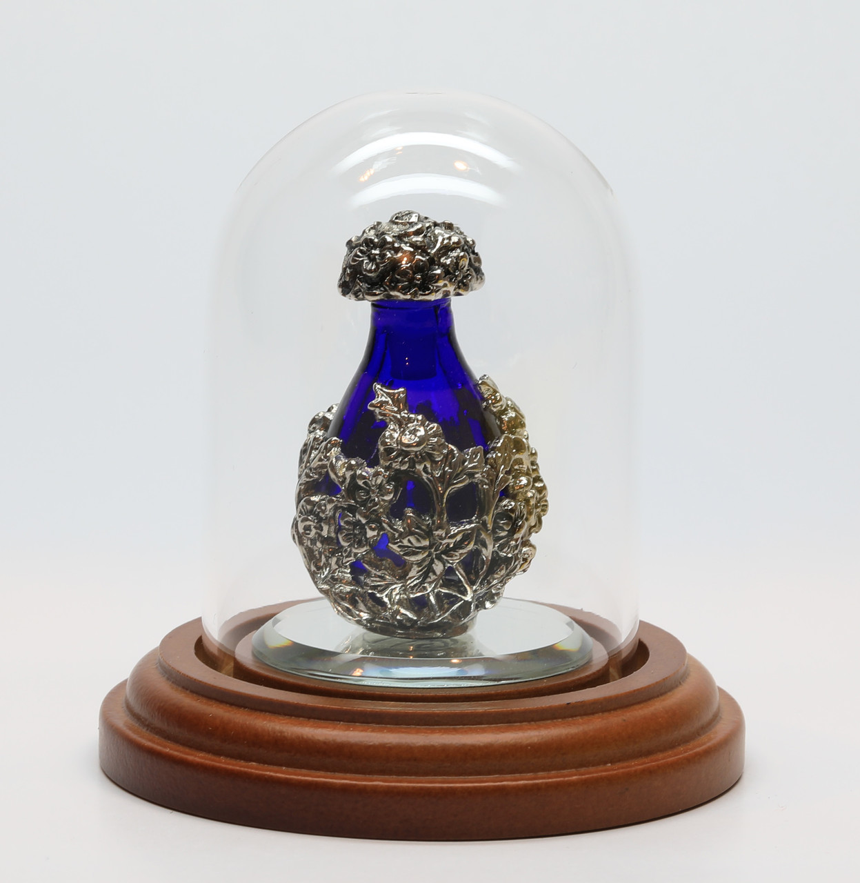 "Blue Silver Victorian Tear Bottle on Optional 1 1/2"" mirror inside Optional Short Mini-Dome, Both Sold Separately"