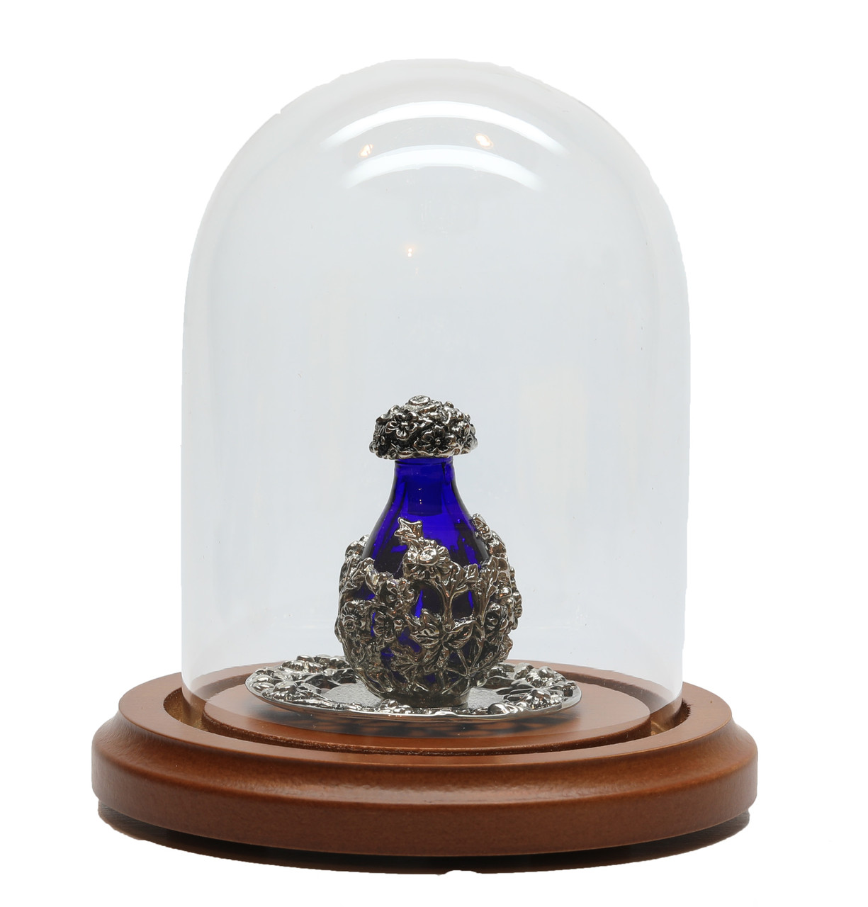 Silver with Blue Glass Victorian Tear Bottle - Optional Silver Tray - Sold Separately