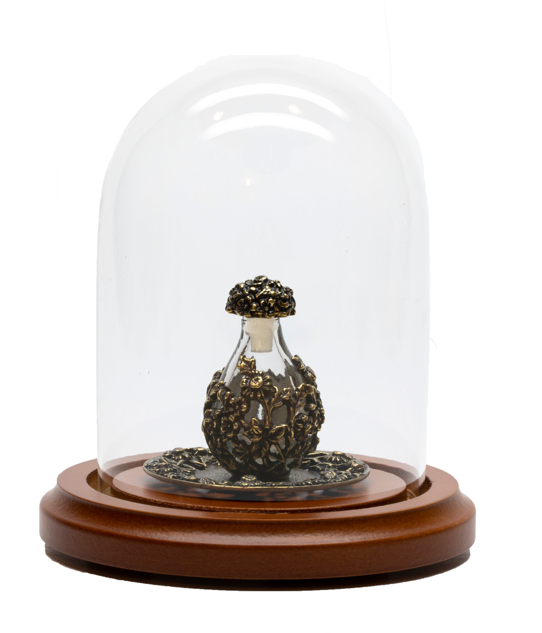 Brass with Clear Glass Victorian Tear Bottle - Optional Mini Dome and Optional Tray - Sold Separately