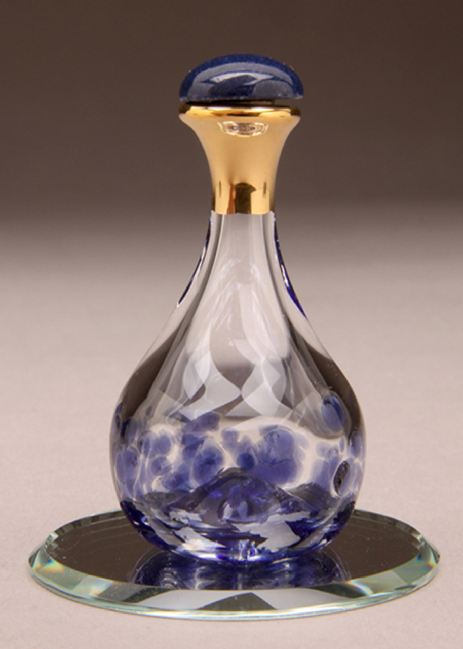 "Blue Contemporary Tear Bottle - pictured with Optional 2"" Beveled Mirror"