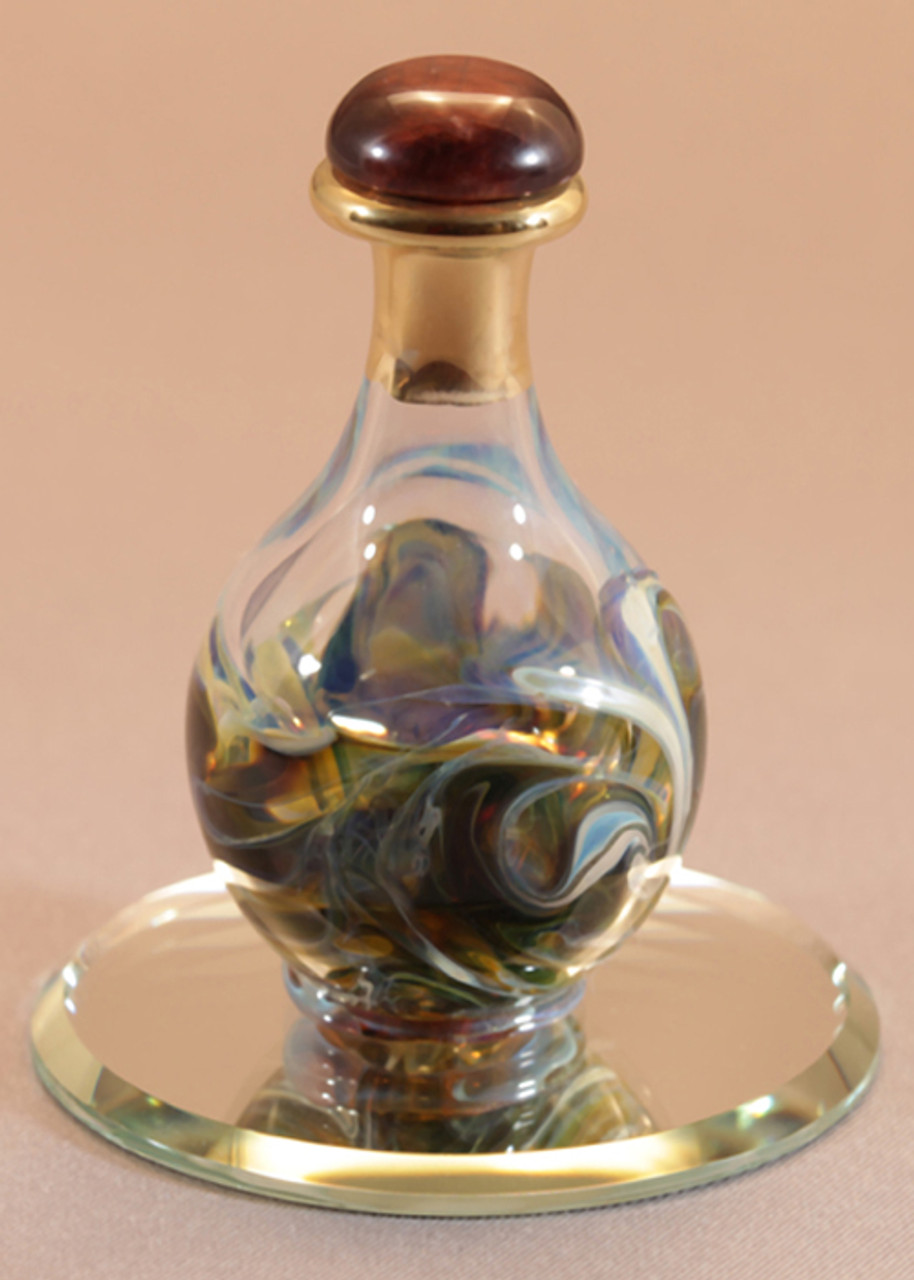 "Olive Marble Contemporary Tear Bottle - pictured with Optional 2"" Beveled Mirror - Sold Separately"