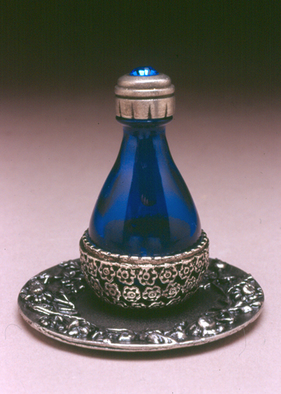 Pewter Basket Roma Tear Bottle - pictured with Optional Pewter Tray with Solid Rim - Sold Separately