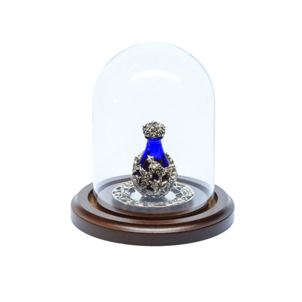 "Glass Maxi Dome with Walnut Base - 3"" D x 4"" H - shown with Optional Silver with Blue Glass Victorian Tear Bottle and with Optional 2"" Silver Tray with Filigree Rim - Both Sold Separately"