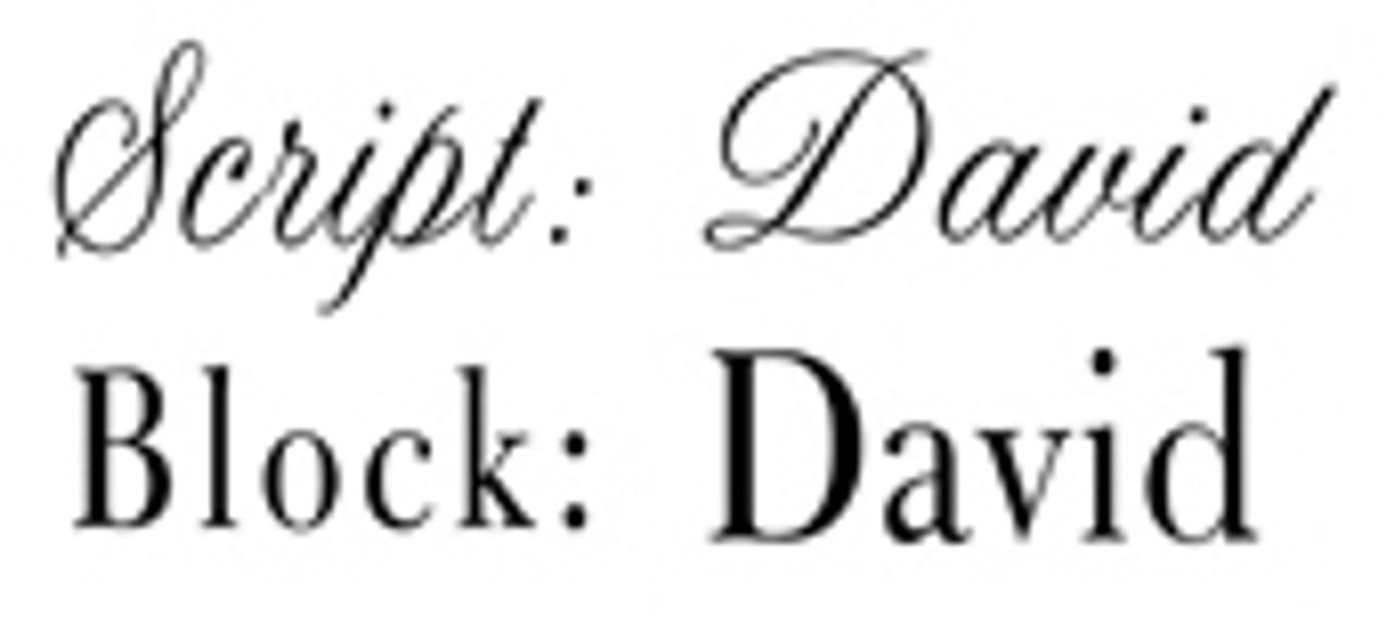 Available Engraving Fonts; Script Block