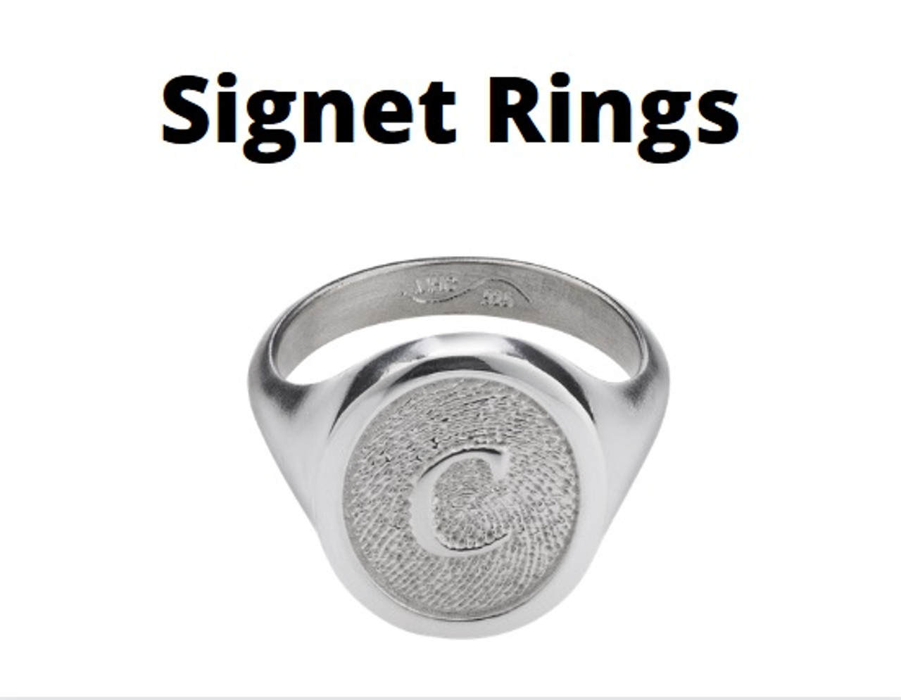 Signet Ring in Sterling Silver with Fingerprint and Initial