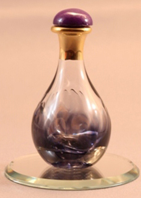 "Violet Marble Contemporary Tear Bottle - pictured with Optional 2"" Beveled Mirror - Sold Separately"