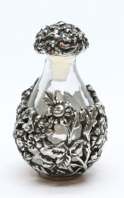 Pewter with Clear Glass Victorian Tear Bottle - shown with Optional Pewter Tray - Sold Separately