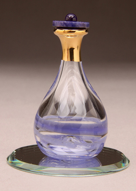 "Amethyst Contemporary Tear Bottle - pictured with Optional 2"" Beveled Mirror - Sold Separately"