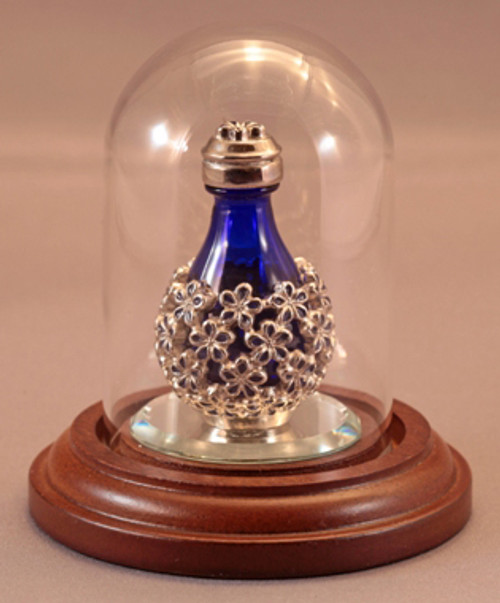 """Short Glass Mini Dome with Walnut Base - 1 7/8""""D x 2 3/4""""H - shown with Forget Me Not Colored Tear Bottle - Sold Separately"""