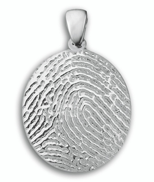 Standard Charm in 14k White Gold with Full Finger Print