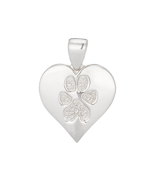 Single HeartFelt Charm Buddie in White Gold with Paw Print