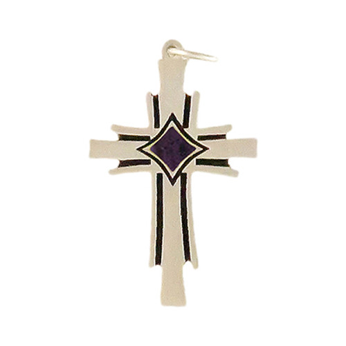 Phoenix Cross Pendant with Blue Cremation Well