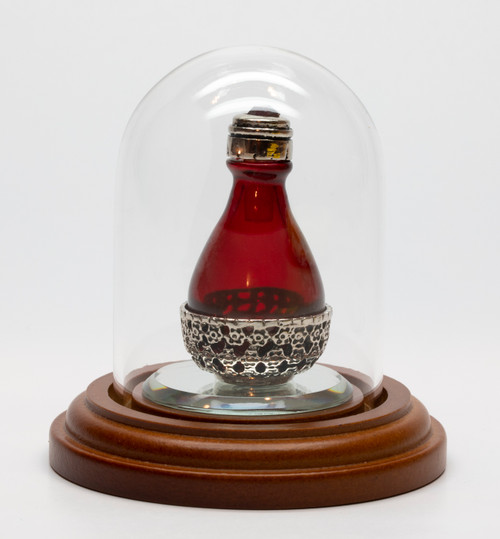 """Silver Roma Basket Red Glass Tear Bottle with Red Swarovsky Crystal in the cap, and Optional 1 1/2"""" Mirror in a Short Mini Dome - Both Sold Separately."""
