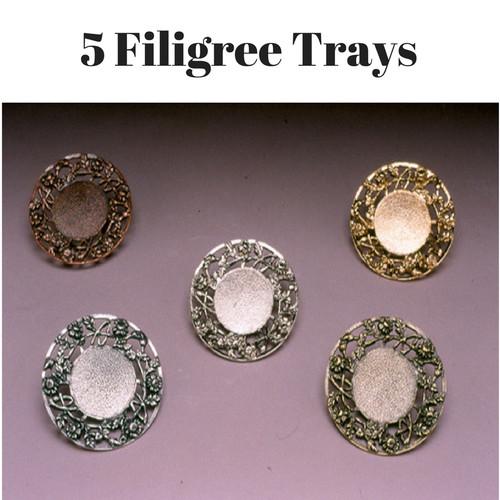 5 Filigree Tear Bottle Trays