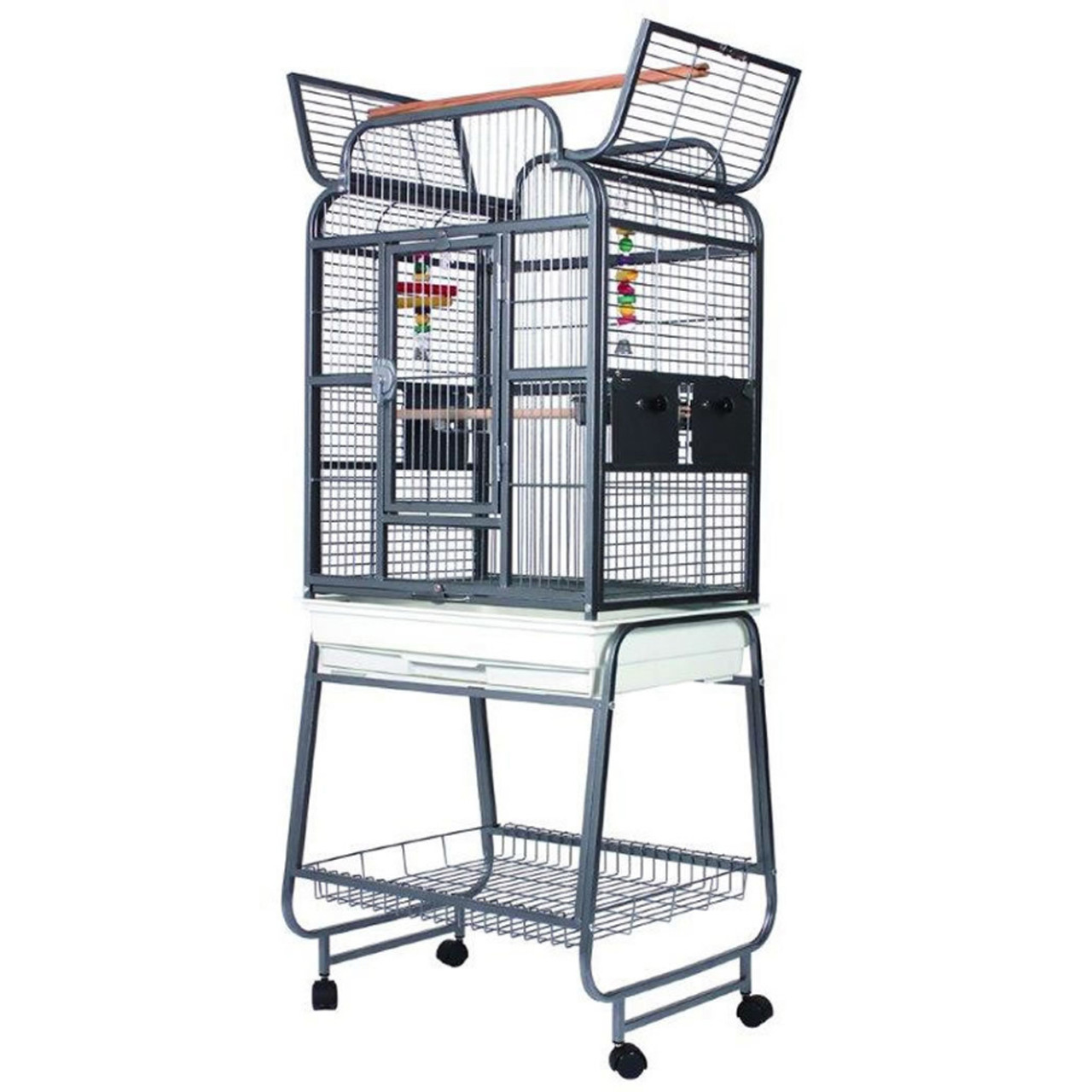 lazy bones open top parrot cage on stand in antique colour