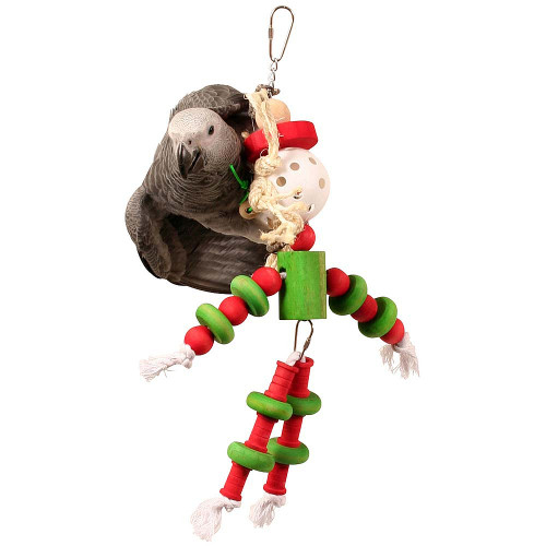 Birdie Buddy Wood and Rope Parrot Toy