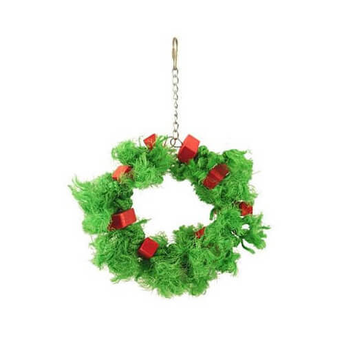 Sisal Christmas Chew and Preen Ring Parrot Toy