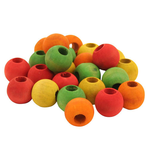 "Colourful Wood Beads 3/4"" - Pack of 24"