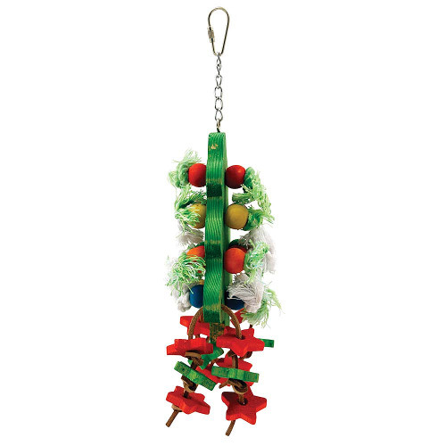 Chunky Wood & Rope Christmas Tree Parrot Toy