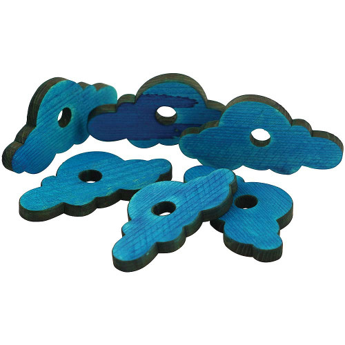 Parrot Essentials Wooden Clouds - Parrot Toy Making Parts - Pack of 5