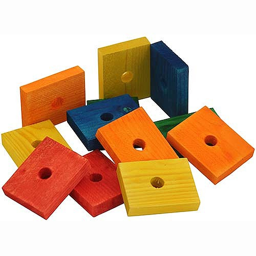 Coloured Wood Blocks Medium - Parrot Toy Parts - Pack of 12