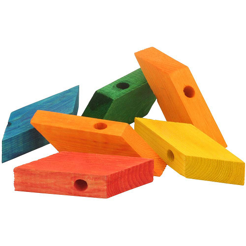 Coloured Wood Rhombus Blocks Parrot Toy Parts