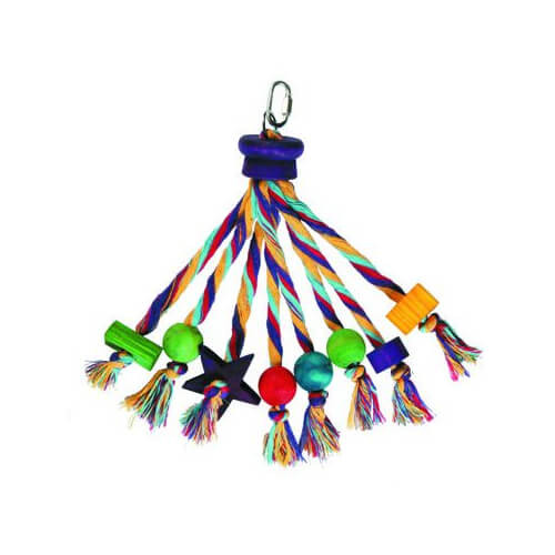 Carnival Colourful Rope and Wood Parrot Toy