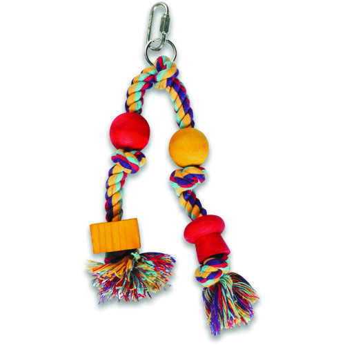 Twin Hanger Natural Wood and Rope Parrot Toy