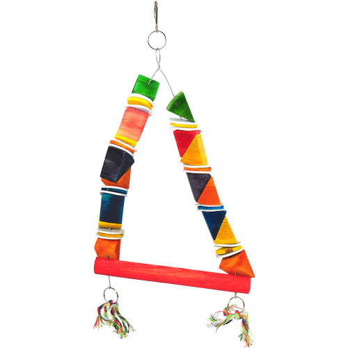 Playtime Wood & Leather II Parrot Toy & Swing