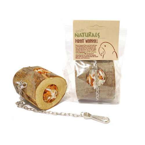 Wood Roll Hanging Foraging Parrot Toy Filled with Treats