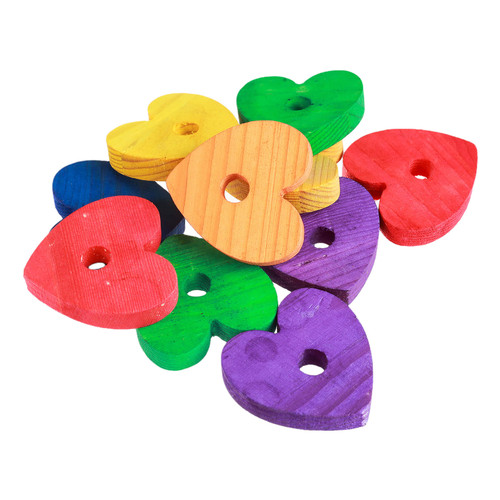 Coloured Pine Wood Hearts - Parrot Toy Making Parts - 10 Pack
