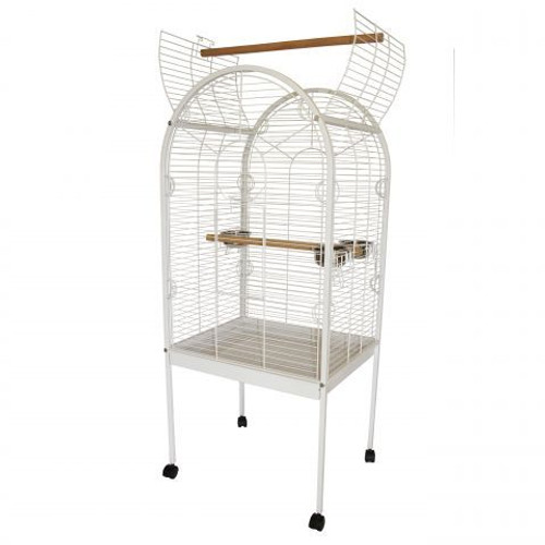 Lazy Bones Open Top Parrot Cage - White