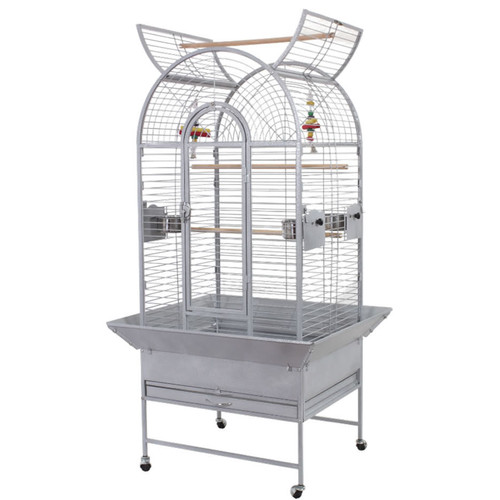 Lazy Bones Open Top Parrot Cage - Antique Silver