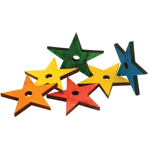 Coloured Wooden Stars Large - Parrot Toy Parts - Large - Pack of 6