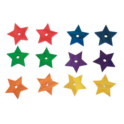 Parrot Essentials Bird & Parrot Toy Making Parts - Coloured Pine Wood Stars - Pack of 12