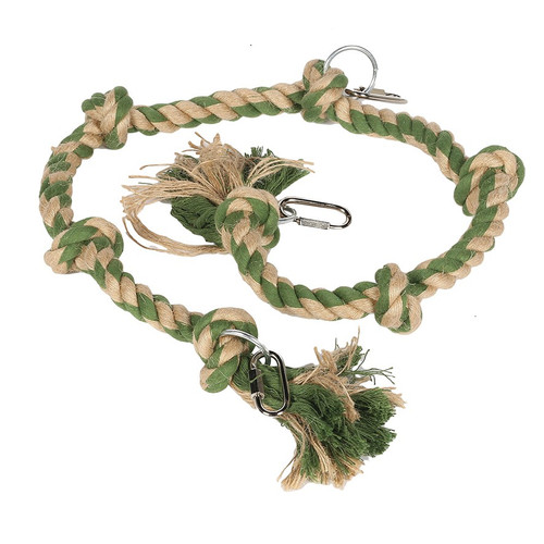 Natural Knotted Rope Hang & Swing Parrot Toy - 100cm