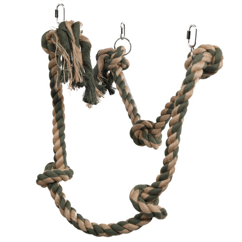Natural Knotted Rope Hang & Swing Parrot Toy - 180cm