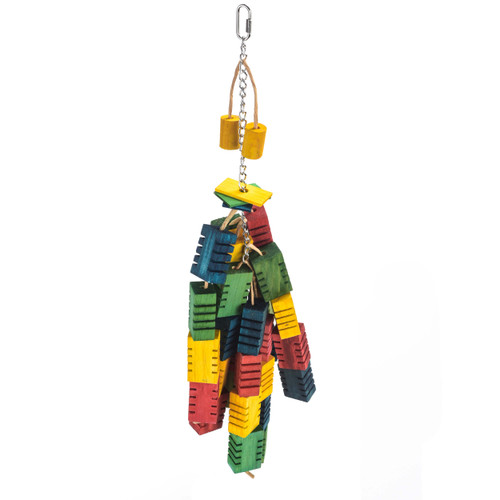 Groovy Colour Blocks Chewing Parrot Toy - Large
