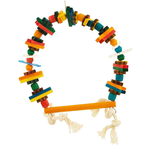 Wooden Blocks Arch Swing Parrot Toy - Small