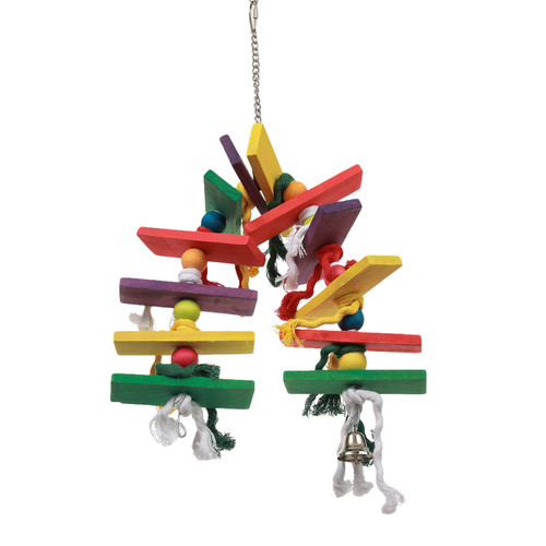 Arched Block, Rope & Bells Chew Parrot Toy