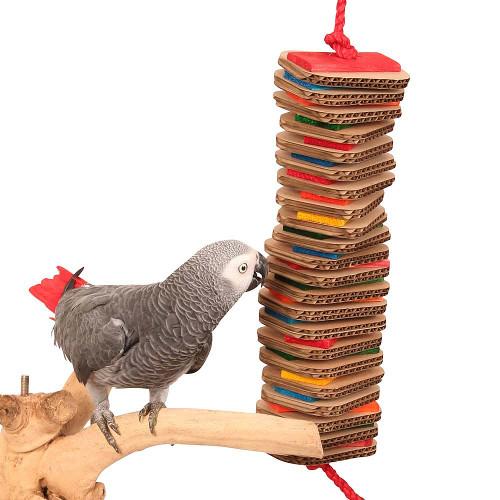 Stacks of Shredding - Large - Wood & Cardboard Parrot Toy