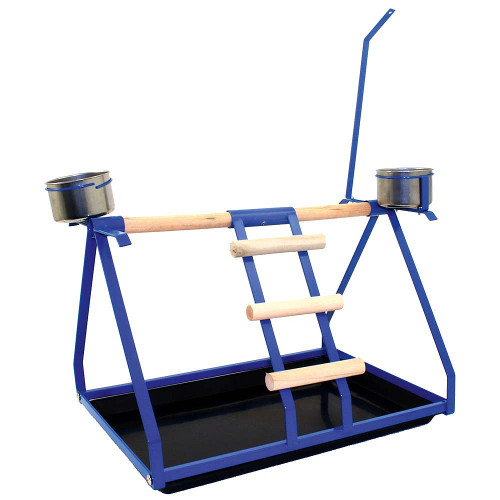 Tabletop Parrot Stand with Toy Hanger & Feeder - Blue