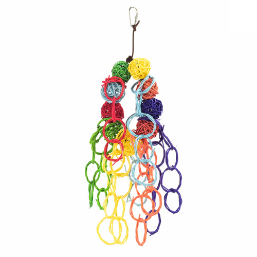 Vine Ball & Willow Rings Colourful Chew Parrot Toy