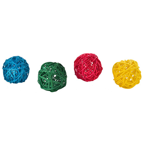 Colourful Munch Woven Vine Chew Balls - Foot Parrot Toy - Pack of 4