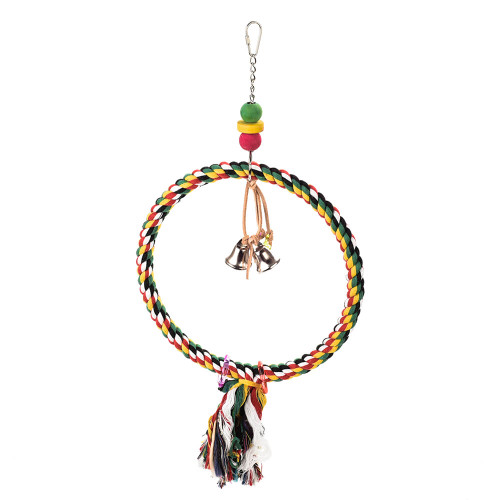 Colourful Cotton Ring Parrot Toy & Swing
