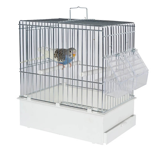 Pet Ting Small Parrots & Birds Tall Transport Cage - White