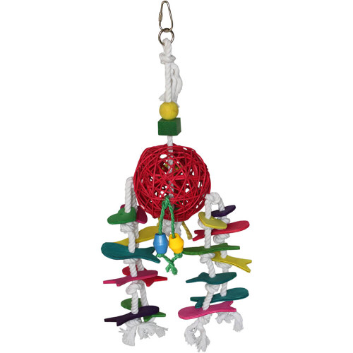 Ball and Rope Natural Parrot Toy